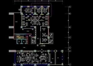 詳細的整體餐飲空間室內設計cad施工圖紙