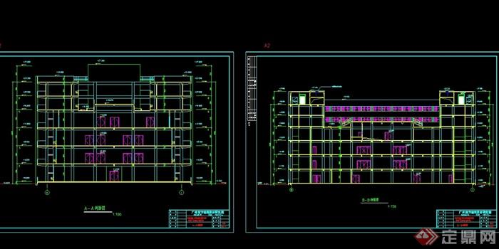 某工厂餐厅及宿舍楼建筑、结构cad施工图