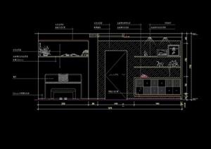 餐厅区装饰墙及酒架造型CAD立面图