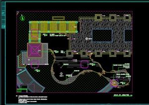 L型转角廊架水榭施工图