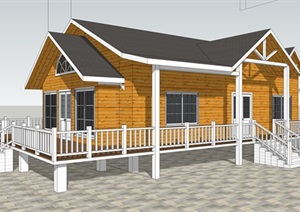 现代休闲防腐木精致中式小木屋建筑SU(草图大师)模型