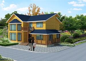 精致二层木屋休闲欧式小木屋防腐木木屋现代中式木屋SU(草图大师)模型