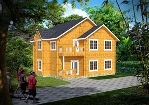 精致二层木屋休闲欧式小木屋防腐木木屋现代中式木屋SU(草图大师)模型1