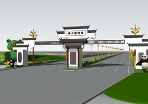 道路大门、新中式大门、大门、高速入口景观