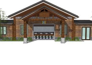 小木屋新中式公厕公园小型新农村公共卫生间旅游景区公共厕所方案SU模型24
