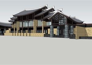 新中式 层叠屋顶 景观建筑