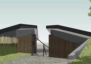 景观公厕精细化模型  现代覆土建筑
