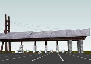 收费站精模 现代大气的收费站