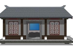 新中式公厕公园小型公共卫生间旅游景区公共厕所方案SU模型26
