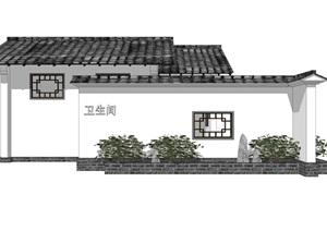新中式公厕公园小型公共卫生间旅游景区公共厕所方案SU模型28