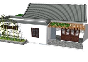 新中式公厕公园小型公共卫生间旅游景区公共厕所方案SU模型29