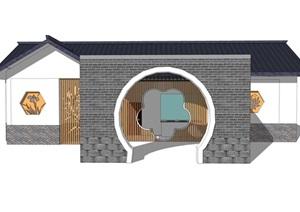 新中式公厕公园小型公共卫生间旅游景区公共厕所方案SU模型30