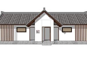 新中式公厕公园小型公共卫生间旅游景区公共厕所方案SU模型31