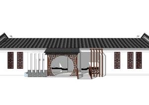 新中式公厕公园小型公共卫生间旅游景区公共厕所方案SU模型33