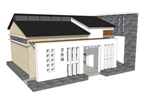 新中式公厕公园小型公共卫生间旅游景区公共厕所方案SU模型34