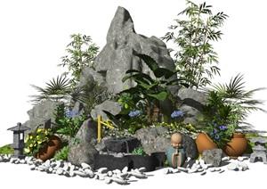 新中式景观小品假山石头水景盆栽石灯鹅卵石竹子植物花卉SU(草图大师)模型