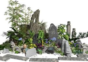 新中式景观小品假山石头水景庭院景观植物灌木花卉SU(草图大师)模型