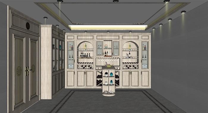 简欧式酒窖品酒区酒柜吧台红酒瓶(1)