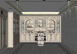 简欧式酒窖品酒区酒柜吧台红酒瓶餐厅酒柜设计方案