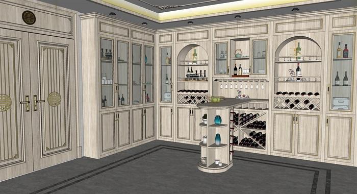 简欧式酒窖品酒区酒柜吧台红酒瓶(2)