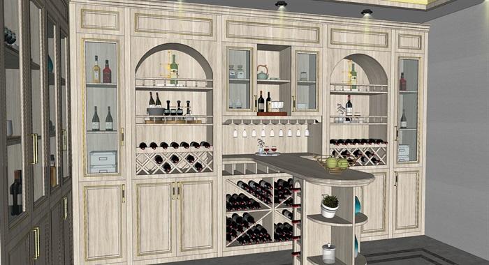 简欧式酒窖品酒区酒柜吧台红酒瓶(3)