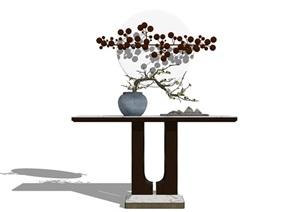新中式茶室工艺品入口玄关柜台组件禅意园林小品室内摆件观赏植物小假山组合