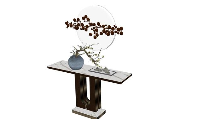 新中式入口玄关柜台组件禅意小品摆件观赏(3)