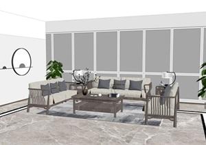 室内办公室客厅新中式原木沙发椅茶室摆设设计SU(草图大师)模型