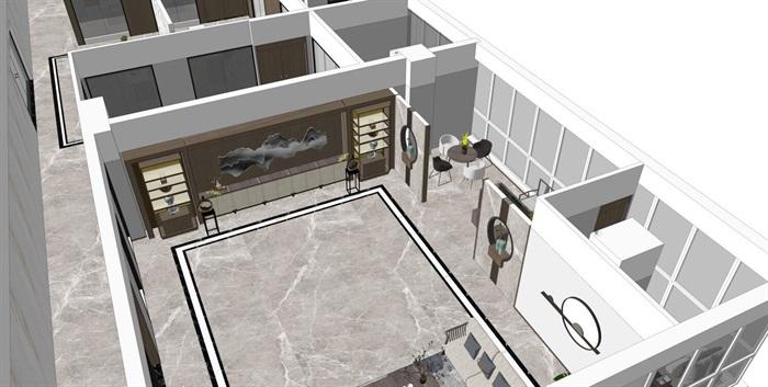 室内办公室客厅新中式设计(2)