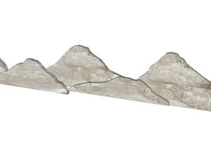 泰山石片新中式园林景观景石小品片石禅意空间设计日式石景SU(草图大师)模型