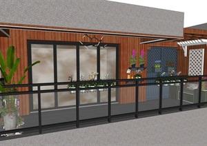 新中式日式地中海式现代风格别墅小阳台景观阳台设计方案SU(草图大师)模型