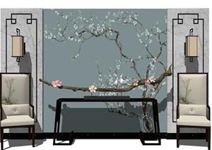 新中式背景墙设计茶室摆设室内日式台案设计枯木摆件艺术品