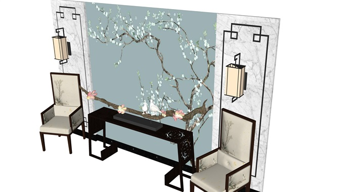新中式背景墙设计茶室摆设(3)