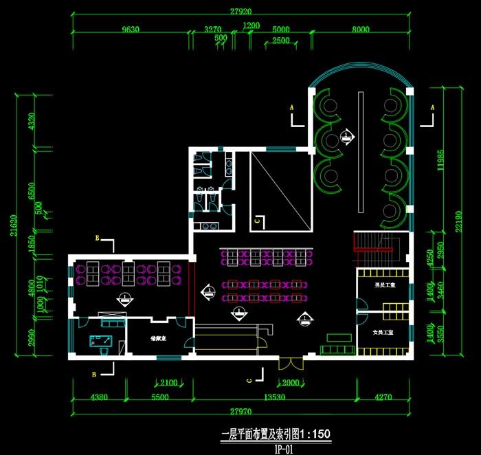 二层咖啡店装饰设计CAD图-约900平(2)