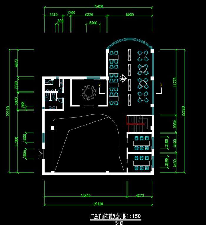 二层咖啡店装饰设计CAD图-约900平(3)