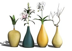 现代装饰品花瓶摆件陈设SU(草图大师)模型