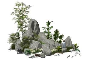 新中式假山石头景观小品庭院景观竹子花卉SU(草图大师)模型
