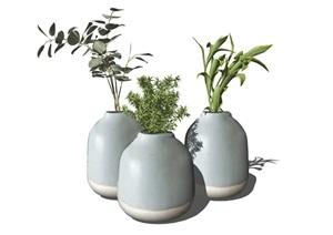现代花瓶装饰品摆件陈设SU(草图大师)模型
