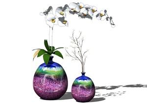 新中式花瓶装饰品摆件陈设SU(草图大师)模型