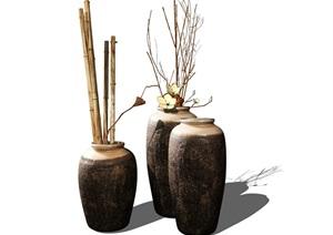 新中式装饰品摆件花瓶陈设SU(草图大师)模型