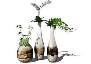 新中式花瓶盆栽摆件装饰品SU(草图大师)模型