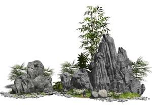 新中式假山石头景观小品竹子庭院景观SU(草图大师)模型