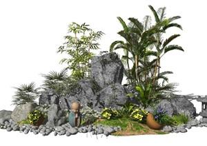 新中式假山石头盆栽景观小品庭院景观植物SU(草图大师)模型