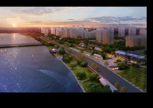 滨江城市景观设计ps俯瞰图效果图