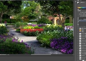 花园植物园小区花园景观设计ps效果图