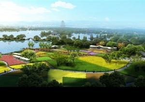 湿地公园滨江公园景观设计ps效果图