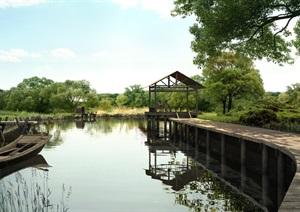 湖边景观设计ps效果图