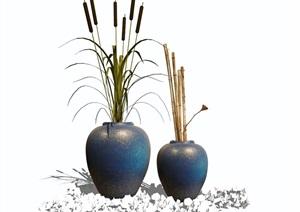 新中式花瓶摆件装饰品盆栽陈设SU(草图大师)模型