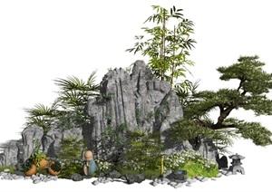 新中式假山石头景观小品松树水景植物盆栽SU(草图大师)模型