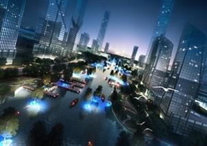 未来城市景观设计ps俯瞰图效果图